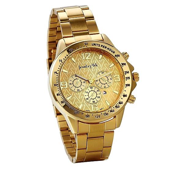 JewelryWe Reloj de Hombre Oro Dorado Floral Relojes de Caballero, Correa de Acero Inoxidable, Cuarzo Reloj de Estilo Negocio 2017 Business Man: Amazon.es: ...