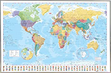 Amazon world map poster in a silver metal frame 24x36 04133 world map poster in a silver metal frame 24x36 04133 psa033057 gumiabroncs Gallery