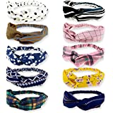 DRESHOW Boho Headbands for Women Vintage Flower Printed Criss Cross Elastic Head Wrap Twisted Cute Hair Accessories 10 Pack