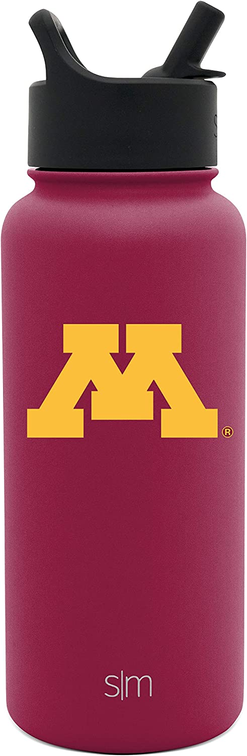Minnesota Golden Gophers Leakproof  Travel Tumbler Stainless Steel Gifts for Men Women Dads Simple Modern 32oz Summit Water Bottle with Straw Lid