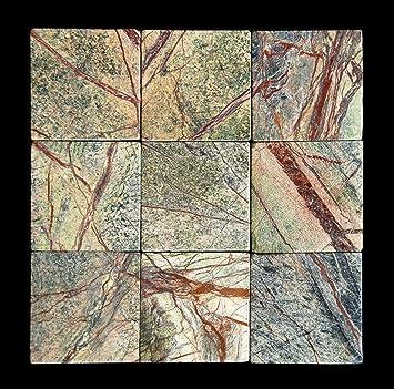 Rainforest Green 4X4 Marble Tumbled Tile. Rainforest Green 4X4 Marble Tumbled Tile   Bathroom Tile   Amazon com