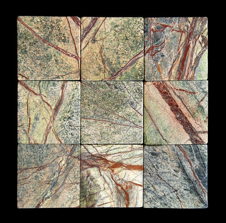 Rainforest Green 4X4 Marble Tumbled Tile