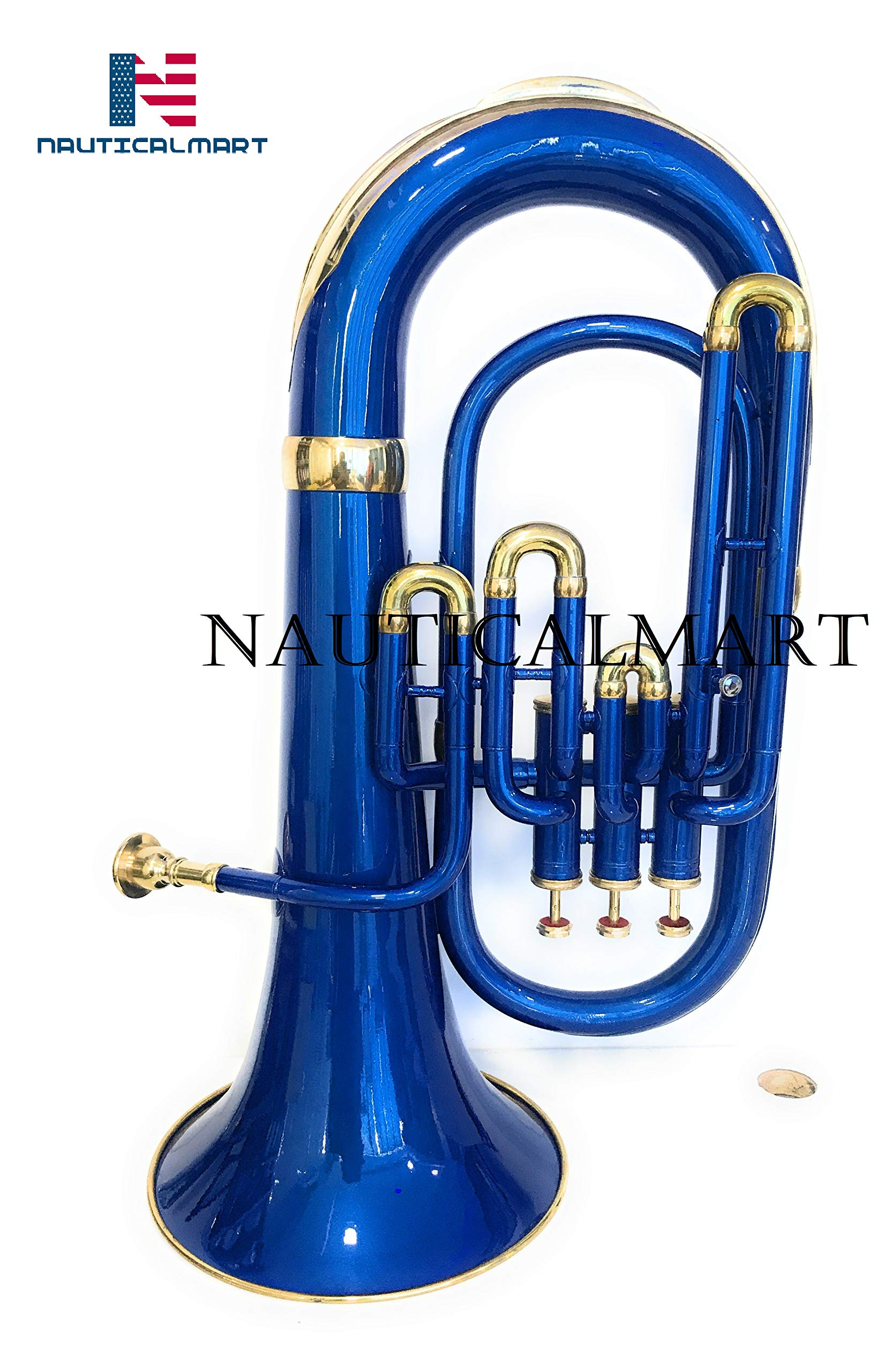 Bb Flat Blue Brass Euphonium With Free Hard Case Mouthpiece by NauticalMart