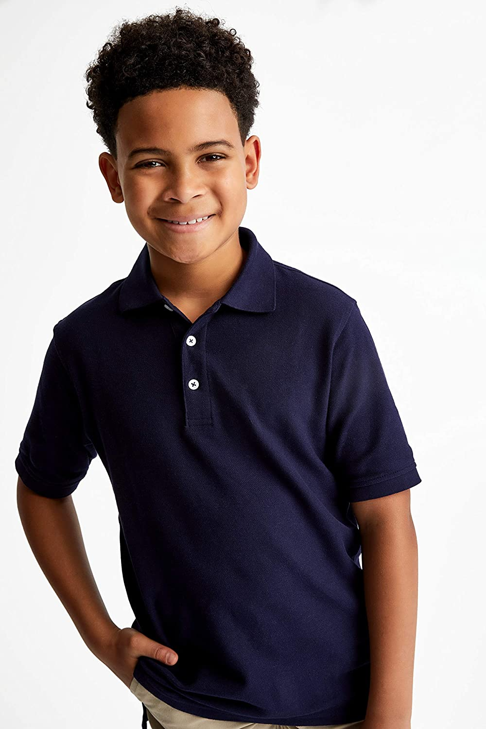 6//7 Standard /& Husky French Toast Boys Little Short Sleeve Pique Polo Shirt S Navy