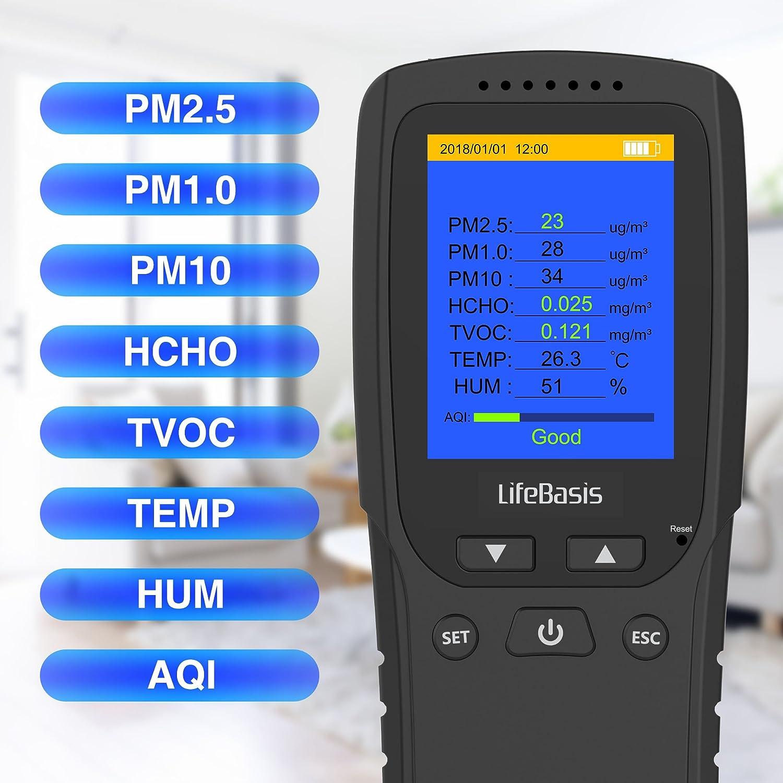 Dispositivo de Prueba para Polvo Fino TVOC PM2.5 Monitor AQI Alta Precisi/ón An/álisis de Gases M/últiples Port/átil Monitor de Calidad de Aire TTLIFE Medidor de Calidad de Aire Formaldeh/ído HCHO
