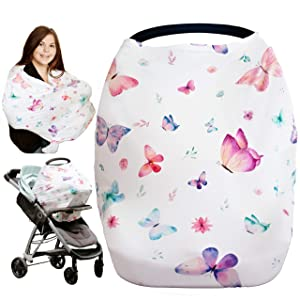 iLuvBamboo Nursing Cover for Babies – Car Seat Multi-Use Protector - Infant Carseat Canopy, Stroller, Shopping Cart, Highchair, Breastfeeding & Scarf. Best Baby Gifts for Registry & Baby Shower