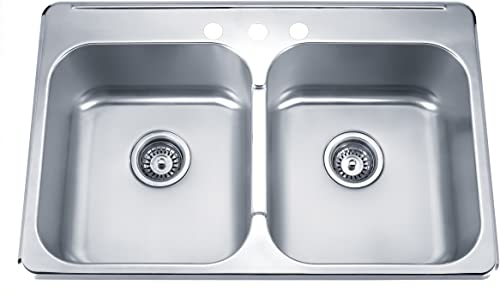 Blue Ocean 31 1 4 KSS918 18 Gauge Stainless Steel Top Mount Kitchen Sink with FREE Strainers