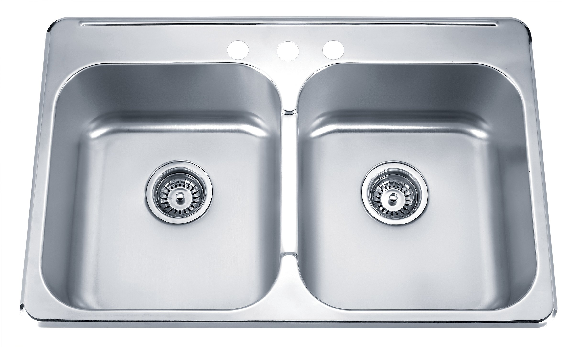 Blue Ocean 31 1/4'' KSS918 18 Gauge Stainless Steel Top Mount Kitchen Sink with FREE Strainers