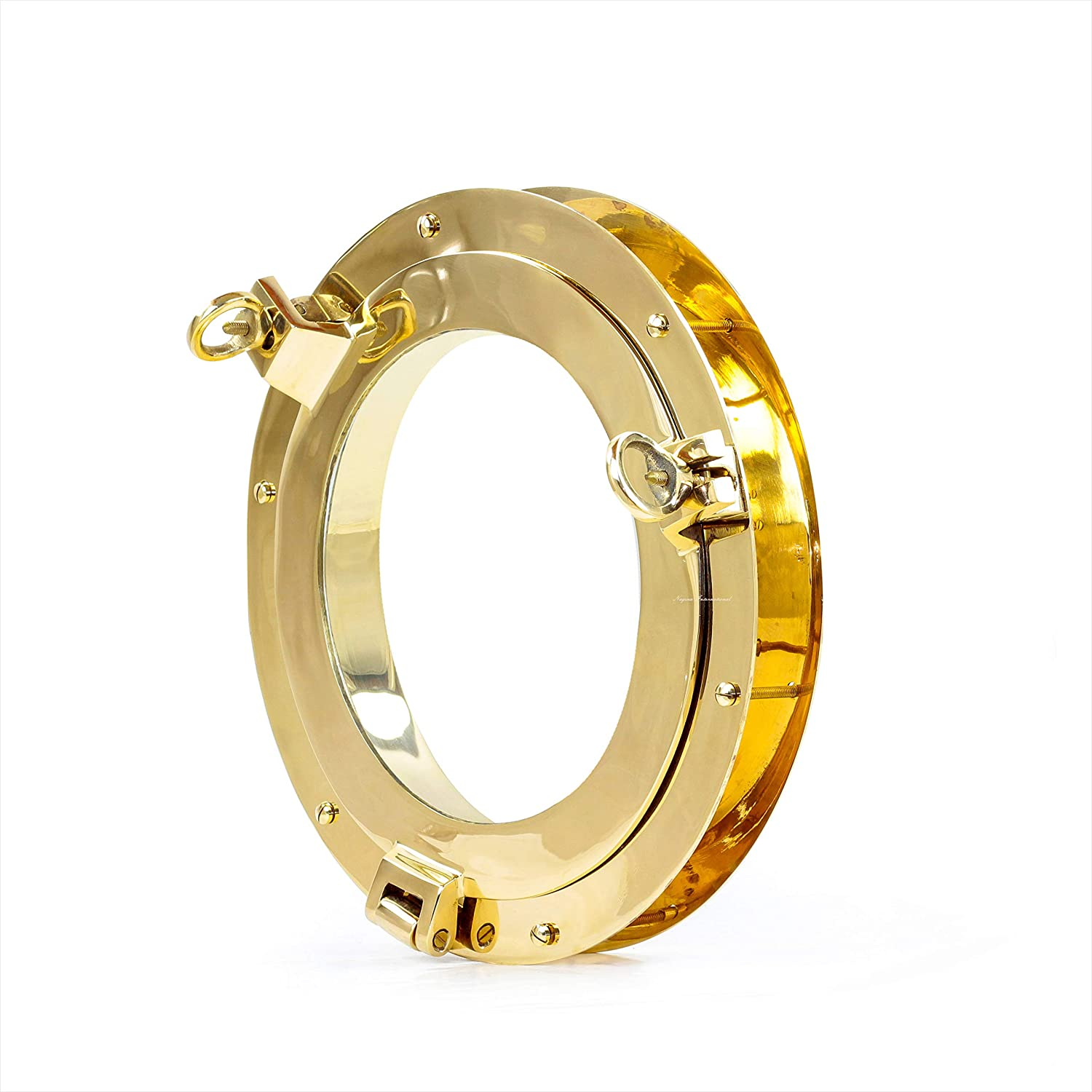 Nagina International Authentic Brass Nautical Heavy Duty Porthole Window with Adjustable Flange | Porthole Windows for Doors at Kitchens & Homes | Nautical Home Decor Accent (10 Inches, Brass)