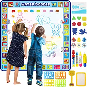 Apsung Large Aqua Doodle Mat,100 x 100 cm Extra Large Water Drawing Doodling Mat Coloring Mat Educational Toys Gifts for Kids Toddlers Boys Girls Age 3 4 5 6 7 8 Year Old
