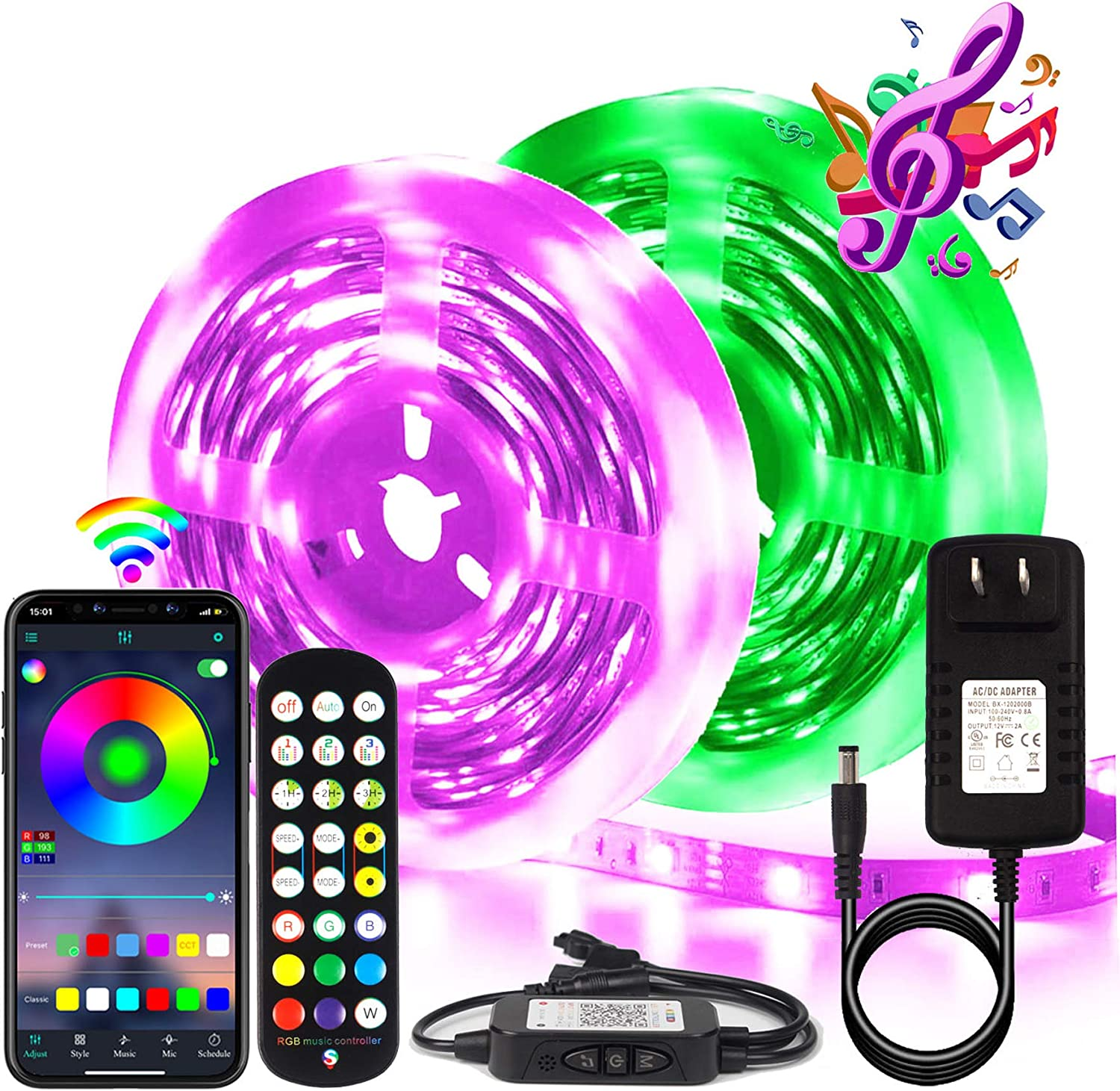 BIHRTC RGB Led Strip Lights 50ft Led Music Sync Color Changing Lights with Music Remote Controller and Power Supply 5050 15m Led Lights for Room Bedroom Party