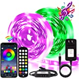 BIHRTC RGB Led Strip Lights 50ft Led Music Sync Color Changing Lights with Music Remote Controller and Power Supply 5050…