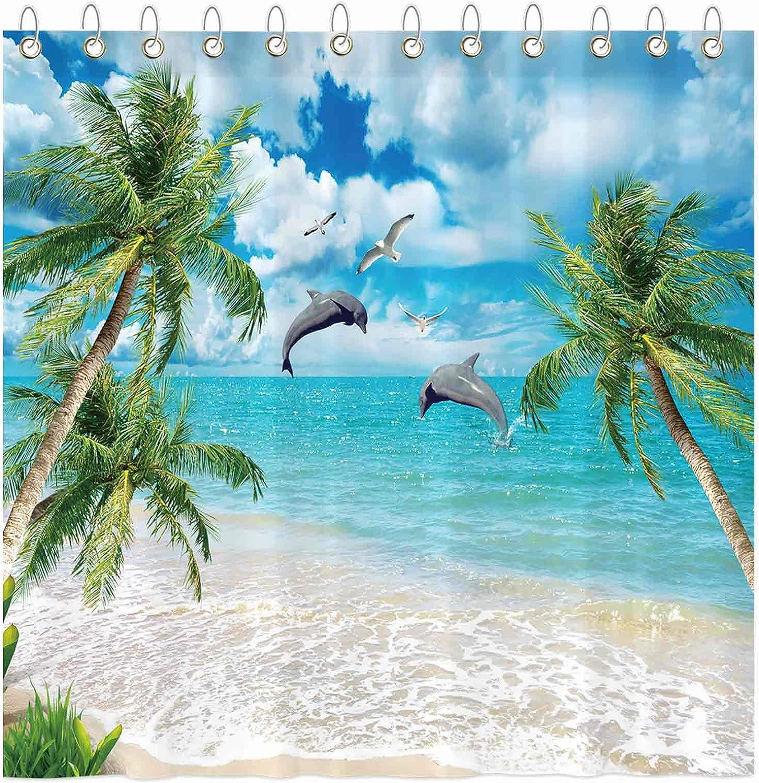 Funnytree Summer Tropical Beach Shower Curtain Set with Hooks Dolphin Seaside Island Palm Blue Sea Bath House Bathroom Bathtubs Decor Easy Care Waterproof Washable Durable Polyester Fabric 72