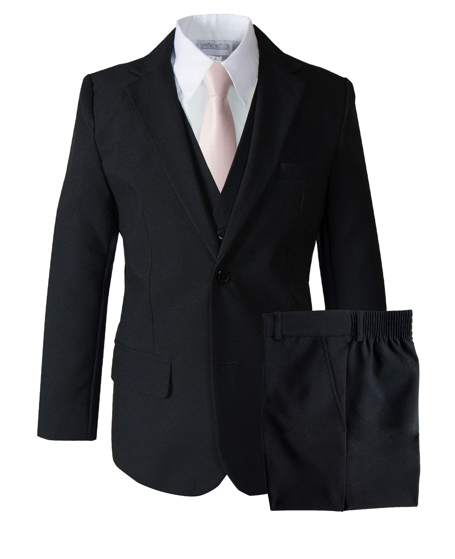Spring Notion Big Boys' Modern Fit Dress Suit Set 16 Black w/Blush Pink Tie