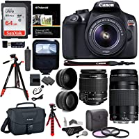 Canon EOS Rebel T6 DSLR Camera Kit, EF-S 18-55mm is II Lens, EF 75-300mm III Lens, RitzGear Wide Angle, Telephoto Lens, 64GB and Accessory Bundle