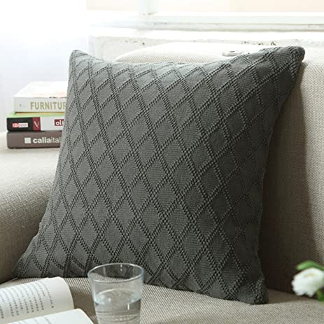 Amazon Fashion Cotton Cable Knit Pillowcushiondiamond Shaped