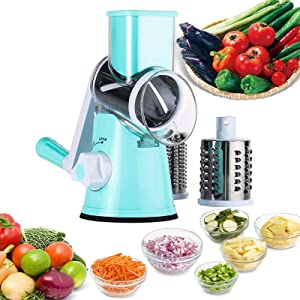 Vegetable Slicer, Third-generation 7-in-1 Manual Rotary Grinder, Drum Circular Slicer, with Powerful Suction Cup, Nuts, Cheese, Vegetables, Fruits, Grinder, Cheese Chopper (Blue)