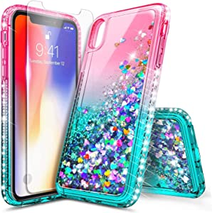 E-Began Case for iPhone XR (6.1 inch 2018 Release) with Tempered Glass Screen Protector, Glitter Liquid Floating Gradient Quicksand w/Sparkling Bling Diamond, Durable Girls Women Cute Case (Pink/Aqua)