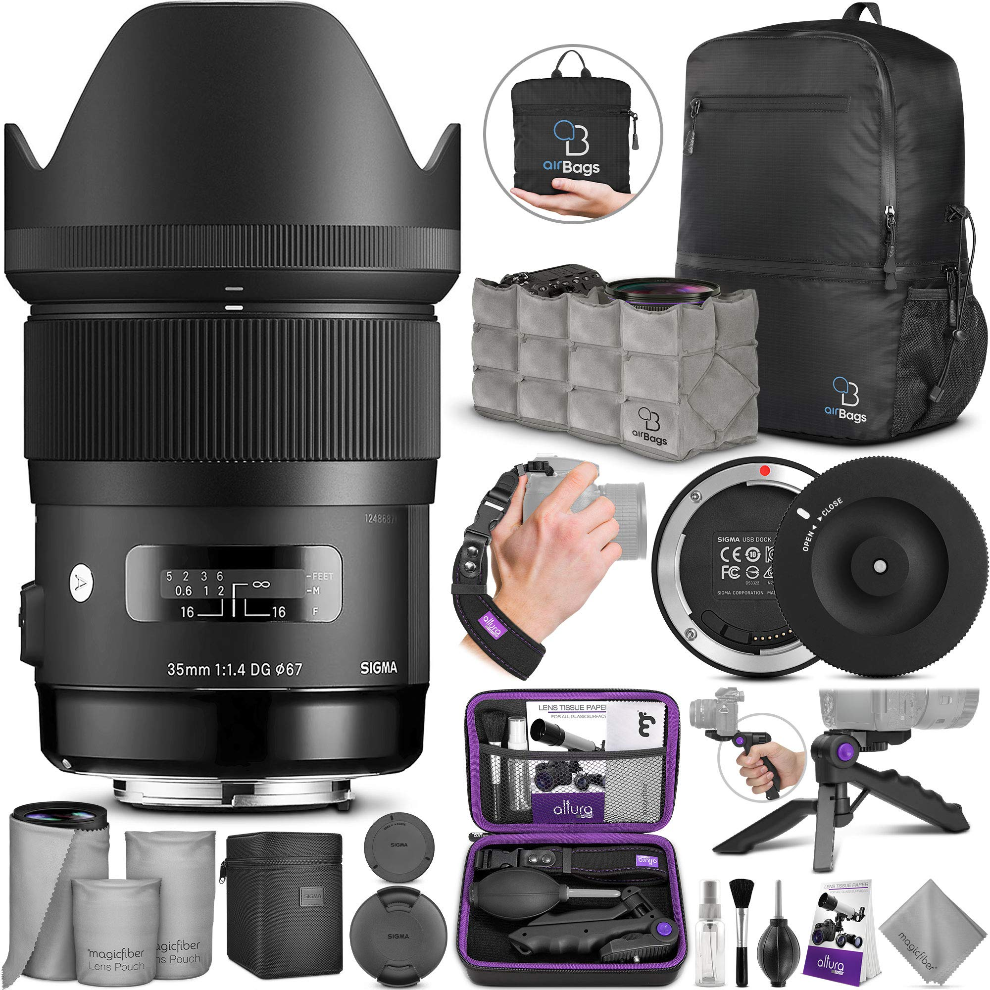 Sigma 35mm F1.4 Art DG HSM Lens for Nikon DSLR Cameras + Sigma USB Dock with Altura Photo Essential Accessory and Travel Bundle by Sigma