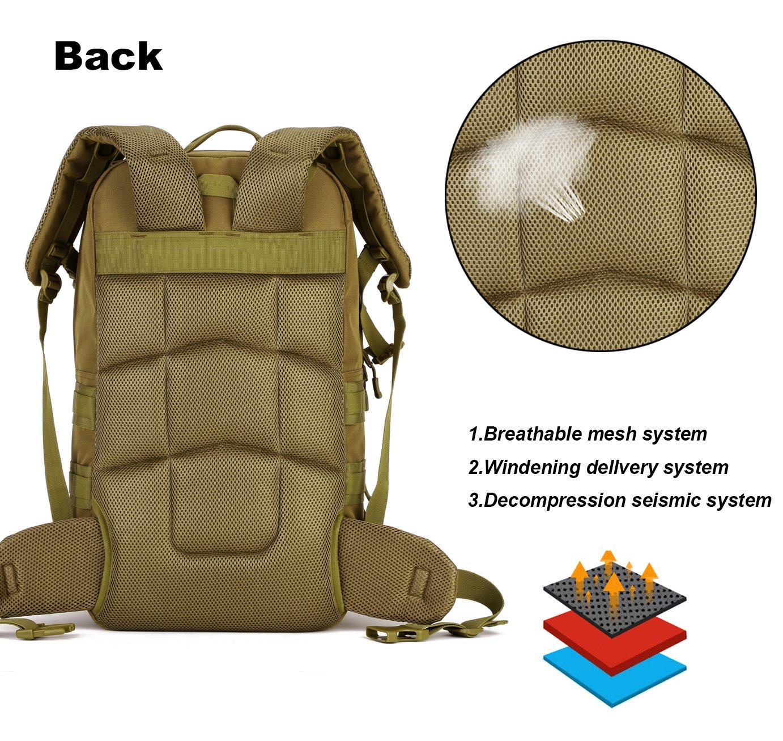 DCCN 55L Molle Sac /à Dos Tactique Sac /à Dos Militaire pour Voyage Camping Randonn/ée Trekking avec Housse de Protection
