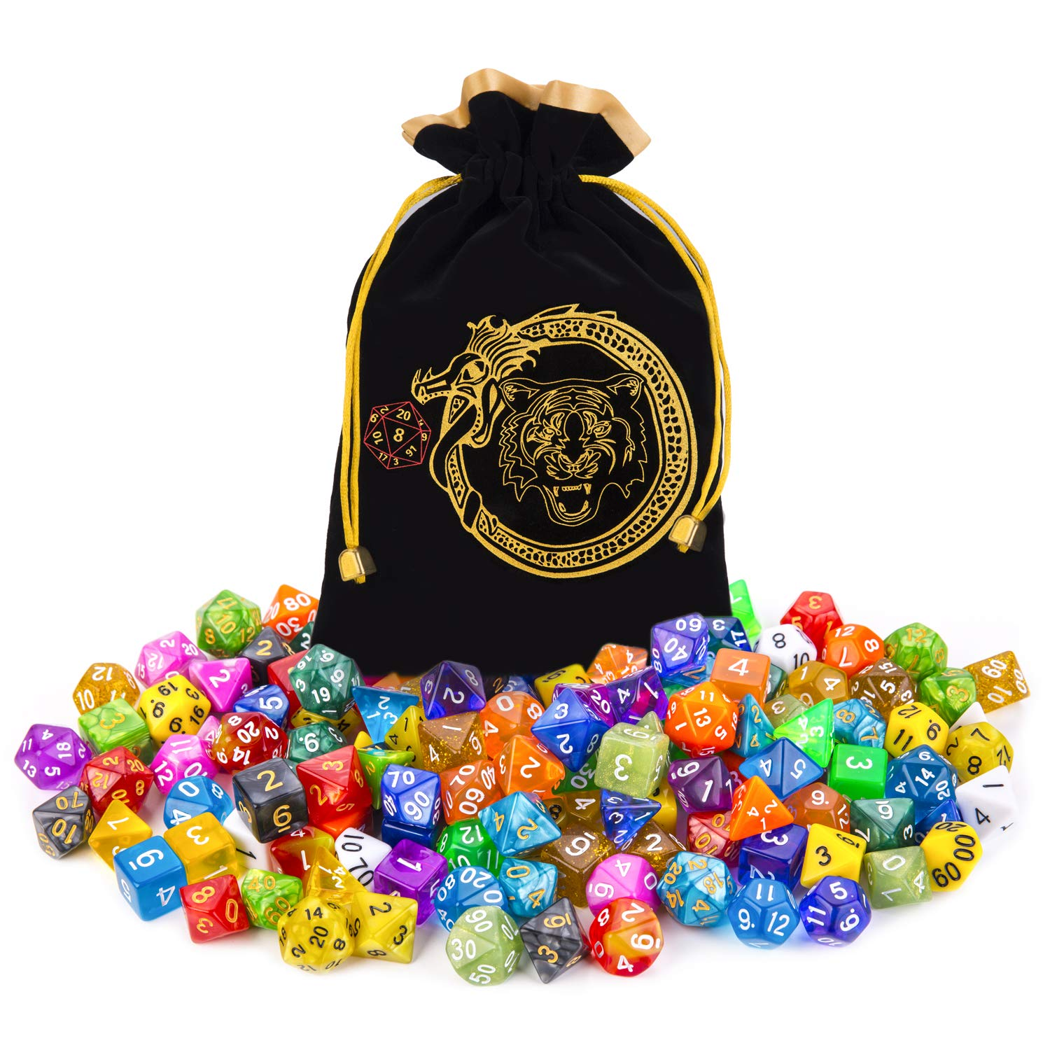 CiaraQ DND Dice Set, 140PCS Polyhedral Game Dice, 20 Set Double Color DND Role Playing Dice with 1 Big Pouch for Dungeon and Dragons DND RPG MTG Table Games Dice D4 D8 D10 D12 D20 ...