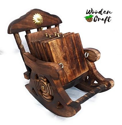 Amazing Buy Wooden Rocking Chair Tea Coffee Coaster Set Of 6 3 3 Ibusinesslaw Wood Chair Design Ideas Ibusinesslaworg