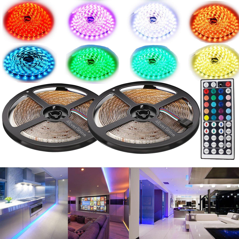 4evershineプレミアムLEDストリップ照明10メートル32.8フィート5050 RGB 300個柔軟な色が変化するフルキット44キーIRリモートコントローラ、コントロールボックス+ 12 V5 a電源供給のホーム B072BGW7KK