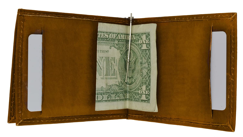 Leather Bi-fold Money Clip Tan #93CF