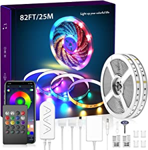 82.4Ft/25m LED Strip Lights, 750 LEDs Music Sync Color Changing LED Light Built-in Mic, Bluetooth APP Controlled DIY Color Options Rope Lights, 750LEDs 5050 RGB LED Light Strip(APP+Remote+Mic+Music)