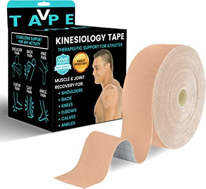 AUPCON Sports Kinesiology Tape Uncut Hypoallergenic Breathable Muscle Tape Therapy Recovery Support for Knee Shoulder Ankle Elbow Shin Neck Splints Latex Free