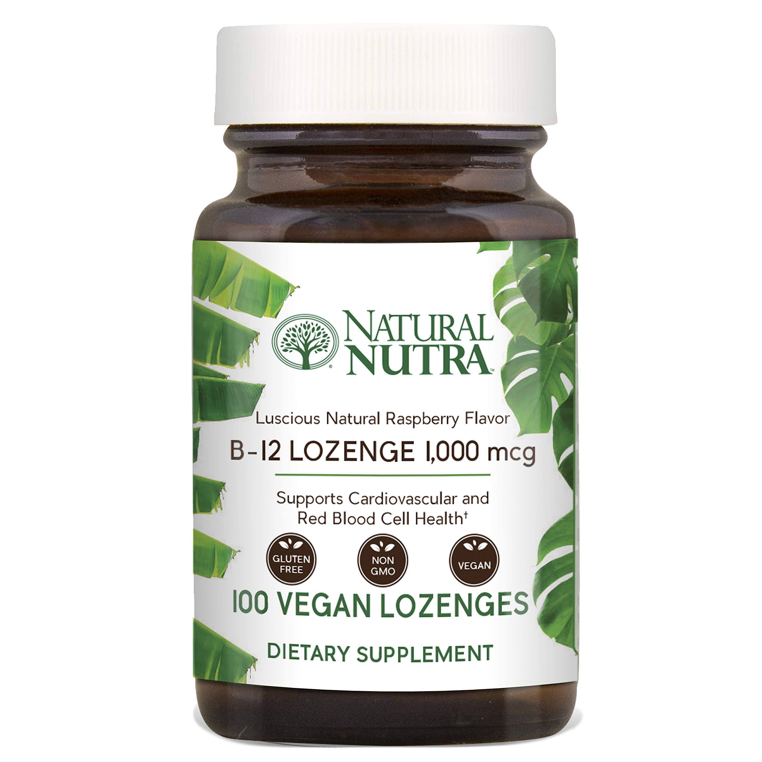 Natural Nutra Vitamin B12 (Cyanocobalamin) Supplement, 1000 mcg, Non-GMO, Vegan and Vegetarian, Pure and Potent, Raspberry Flavor, 100 Lozenges