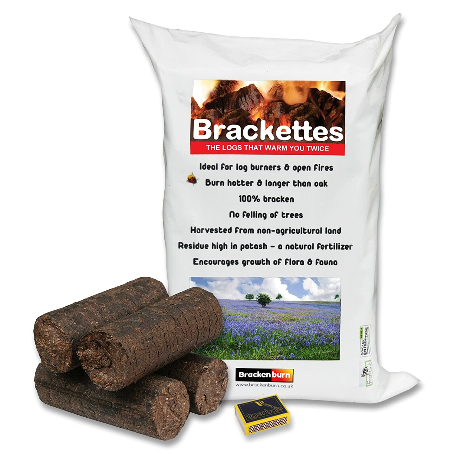 10 Brackenburn Brackettes Logs & Tigerbox Safety Matches. Renewable Extra Hot Solid Fuel made from Bracken.