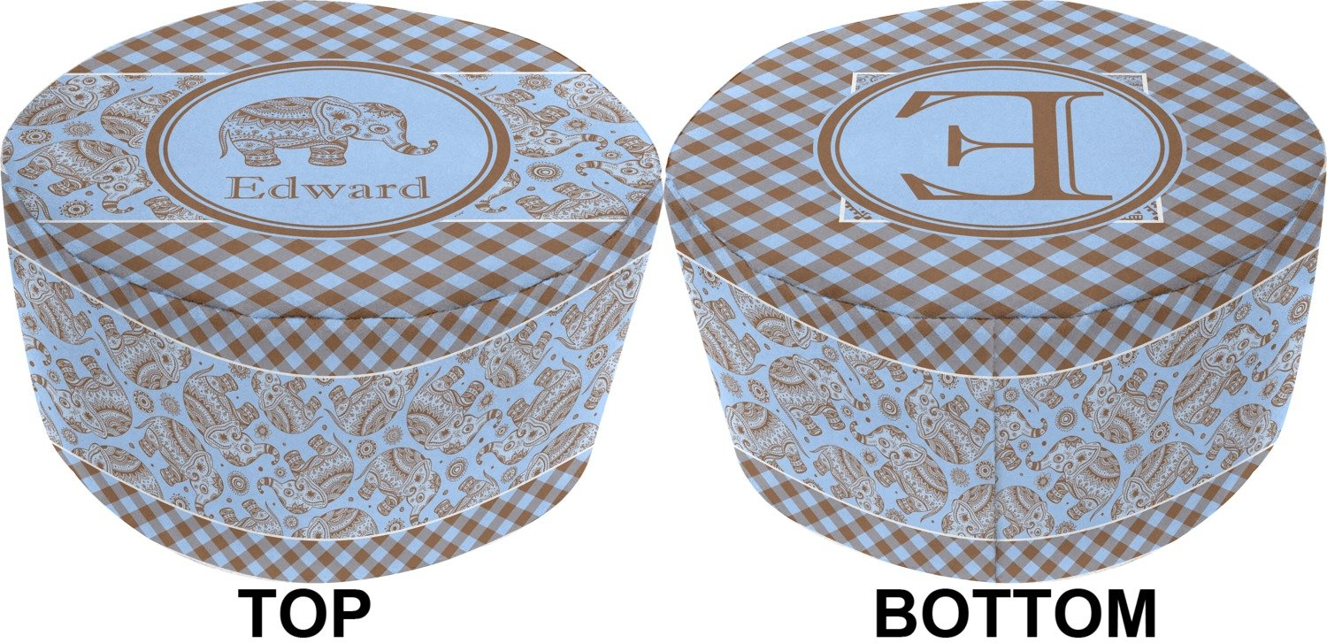 Gingham & Elephants Round Pouf Ottoman (Personalized) by RNK Shops (Image #3)