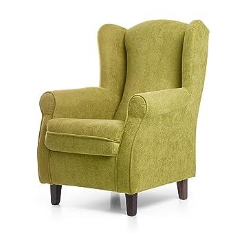 SUENOSZZZ - Sillon Relax, Sillon orejero para Lactancia Irene. Tapiceria Antimanchas acualine Color Verde. Butaca para Dormitorio, Salon o habitacion ...