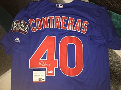 the latest 604a6 b8e5b Signed Willson Contreras Jersey - 2016 World Series Champs ...