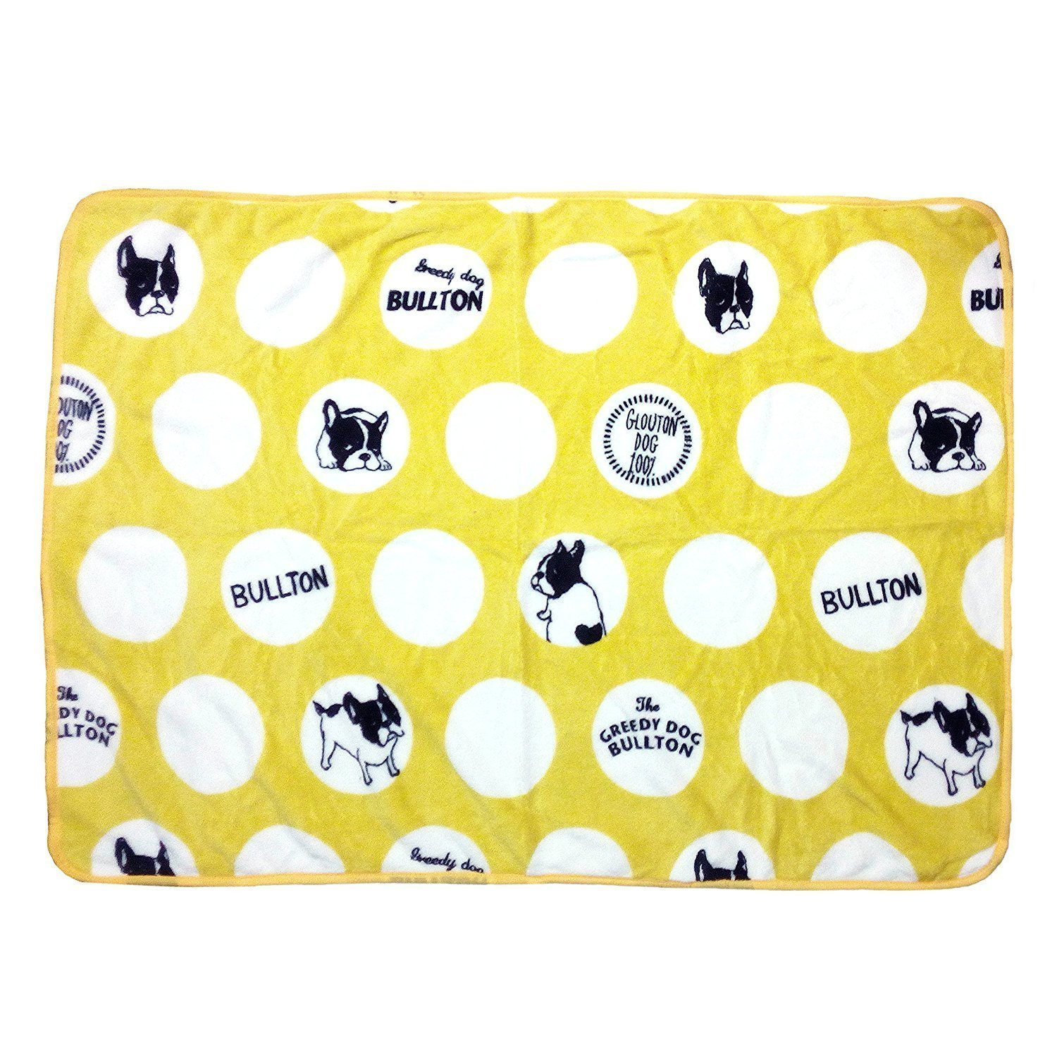 Frenchie French Bulldog Super Soft Fleece YELLOW Pet Bed Blanket by MSFREN (Image #1)