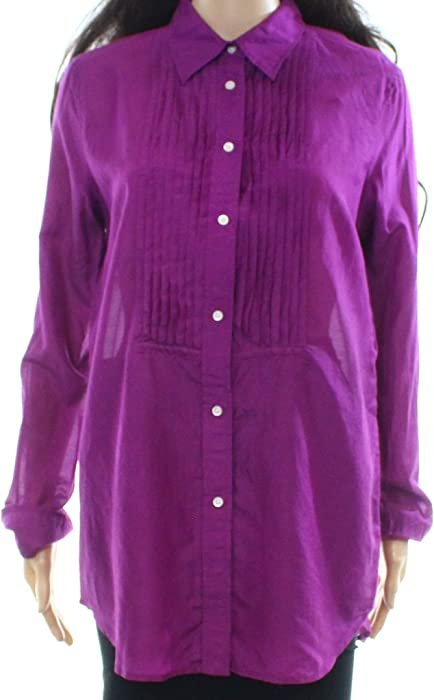 9c939ce419305f Lauren Ralph Lauren Womens Silk Blend Pleated Button-Down Top Purple 8.  Back. Double-tap to zoom