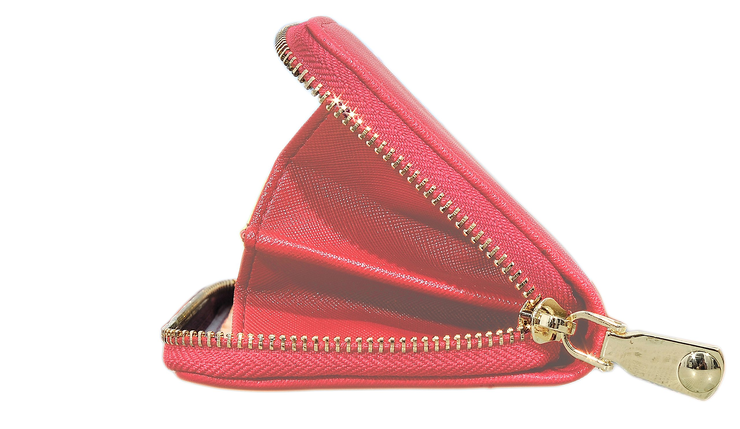 Womens Leather Wallet Clutch Long Zipper Wallets with Wrist Strap Card Holder (Red - New) by Yuhan Pretty (Image #1)