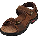 4HOW Men's Sport Outdoor Sandals Trail Leather Water Sandal Shoes