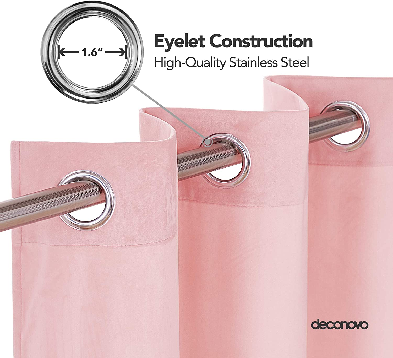 Deconovo Super Soft Crushed Velvet Curtains Eyelet Thermal Insulated Curtains for Kids Bedroom W52 x L72 Inch with Two Tiebacks Baby Pink 2 Panels