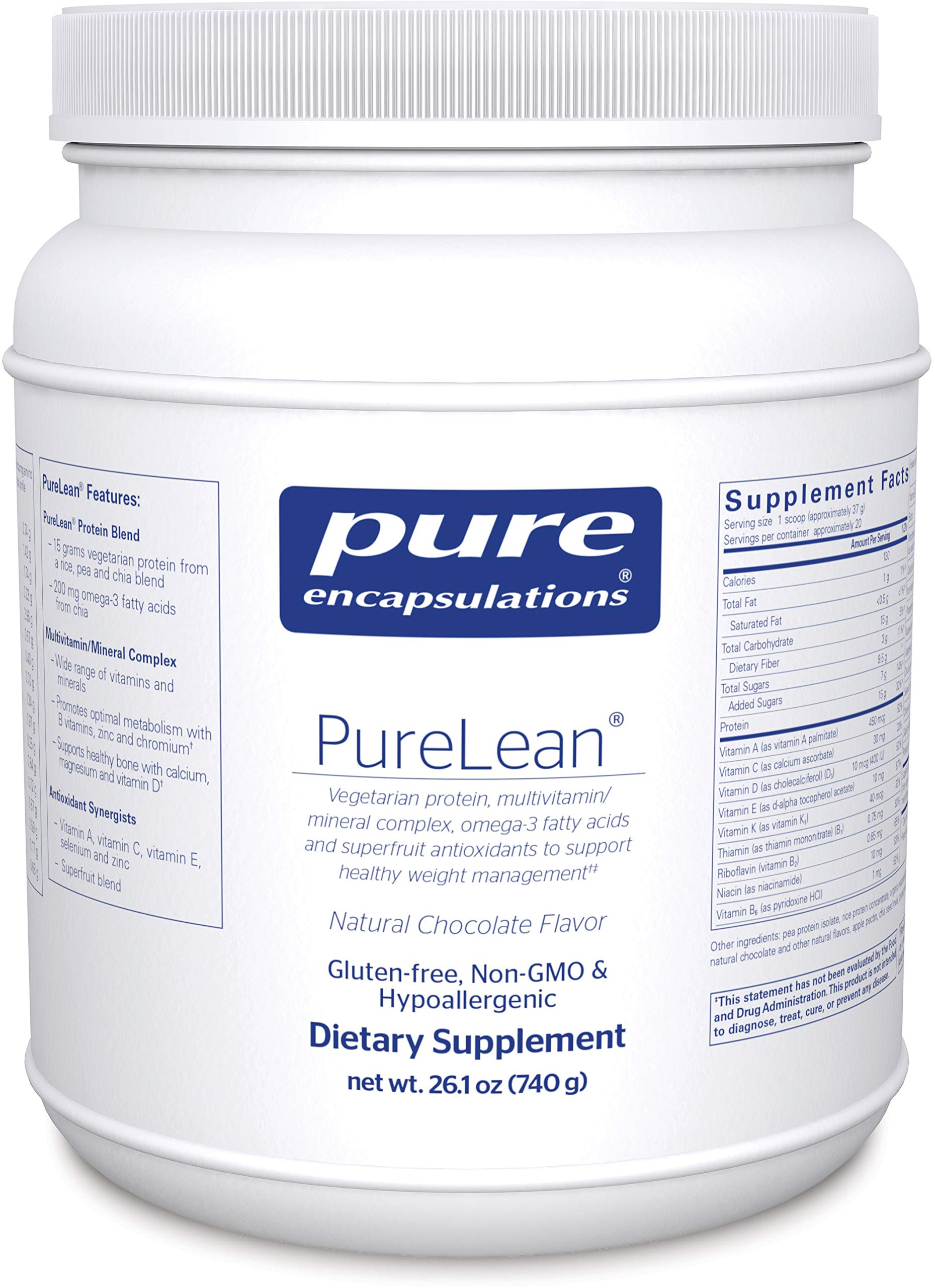 Pure Encapsulations - PureLean - Vegetarian Protein Blend for Healthy Weight Management** - Natural Chocolate Flavor - 740 Grams