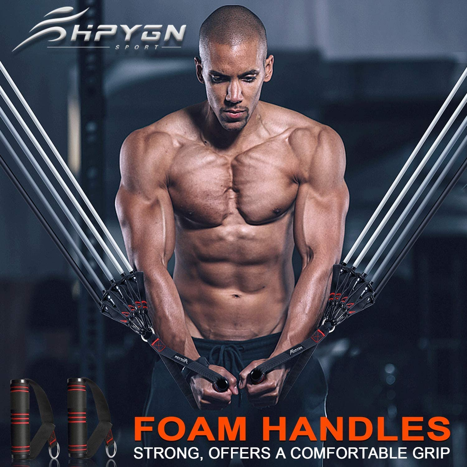 HPYGN Resistance Bands Set Exercise Bands with Handles Ankle Straps Door Anch...