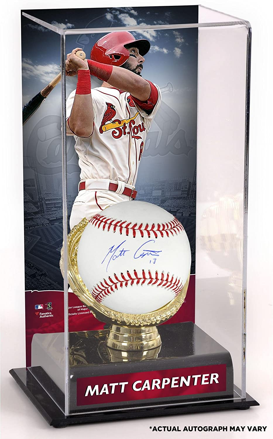 Fanatics Authentic Certified Matt Carpenter St Louis Cardinals Autographed Baseball and Gold Glove Display Case with Image