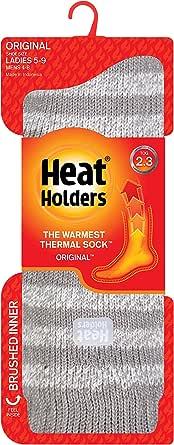 Heat Holders Ladies Twist Crew Sock, Light Grey/Cream, 5-9