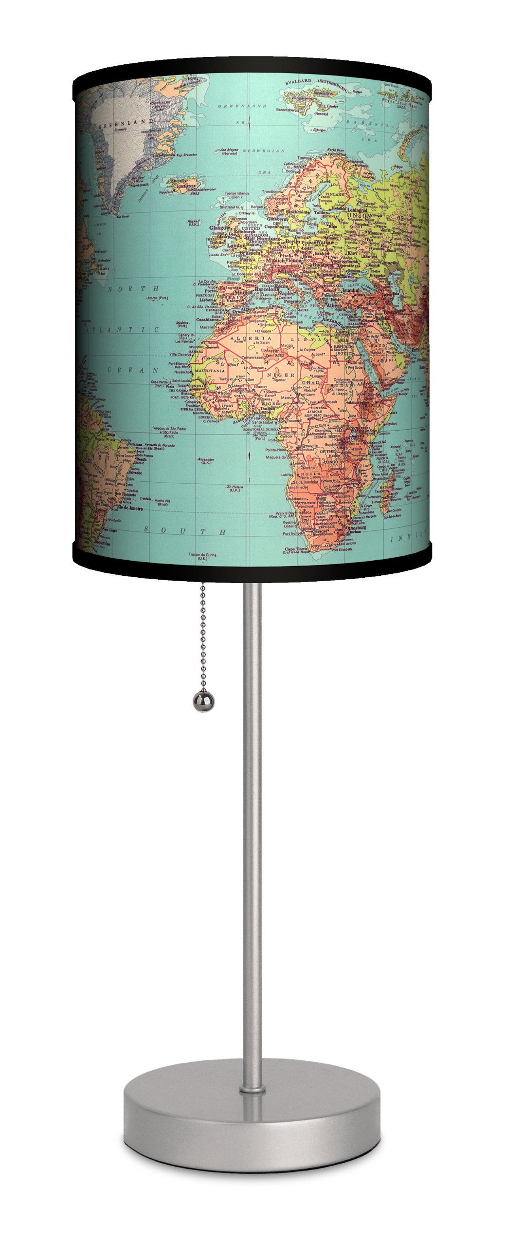 Travel - 1970's Map Sport Silver Lamp