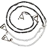 Luxury Silver Metal Chain With Black Suede decorative Bra Straps - One Pair