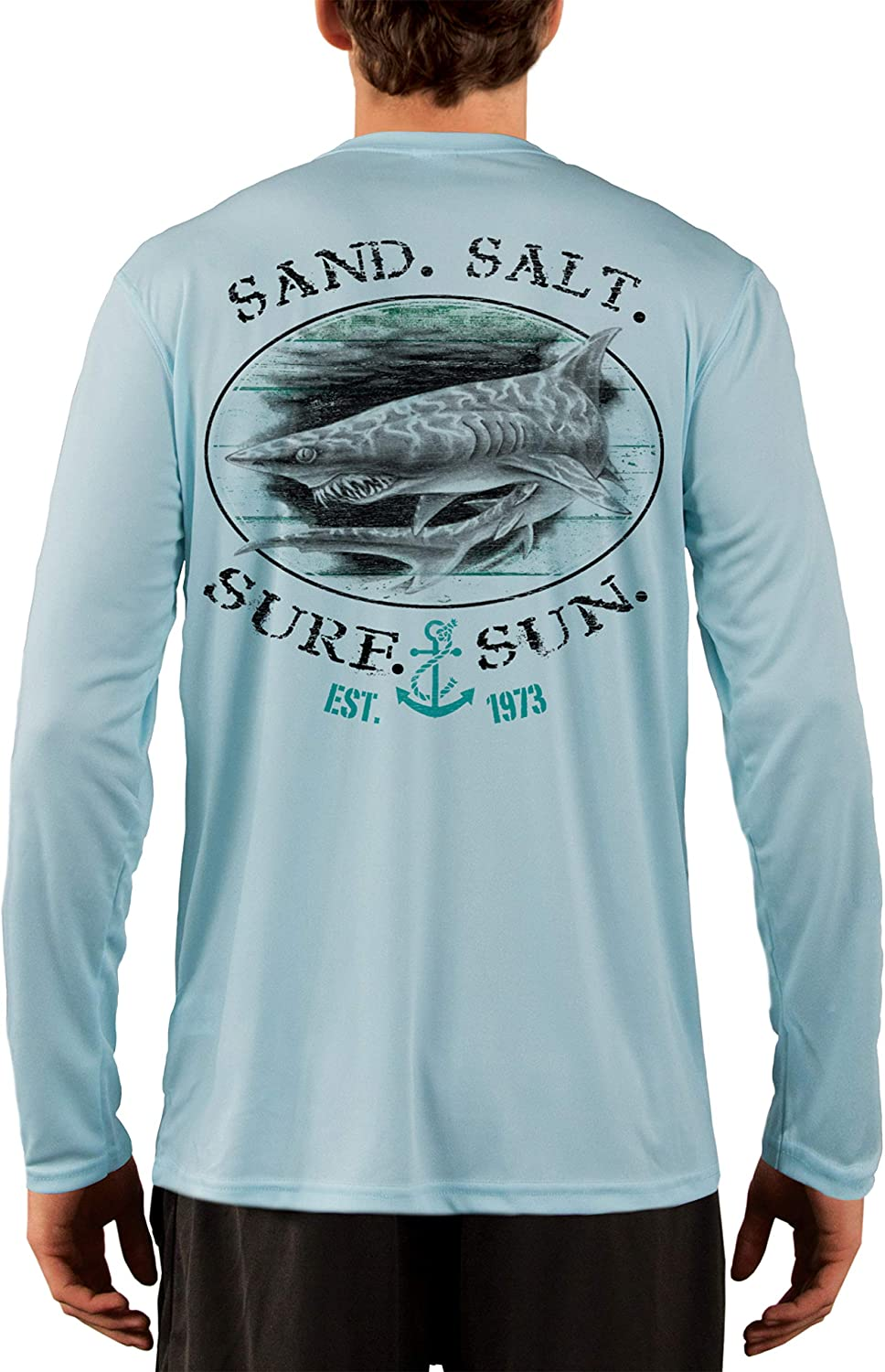 SAND.SALT.SURF.SUN. Shark Men's UPF 50+ UV Sun Protection Performance Long Sleeve T-Shirt