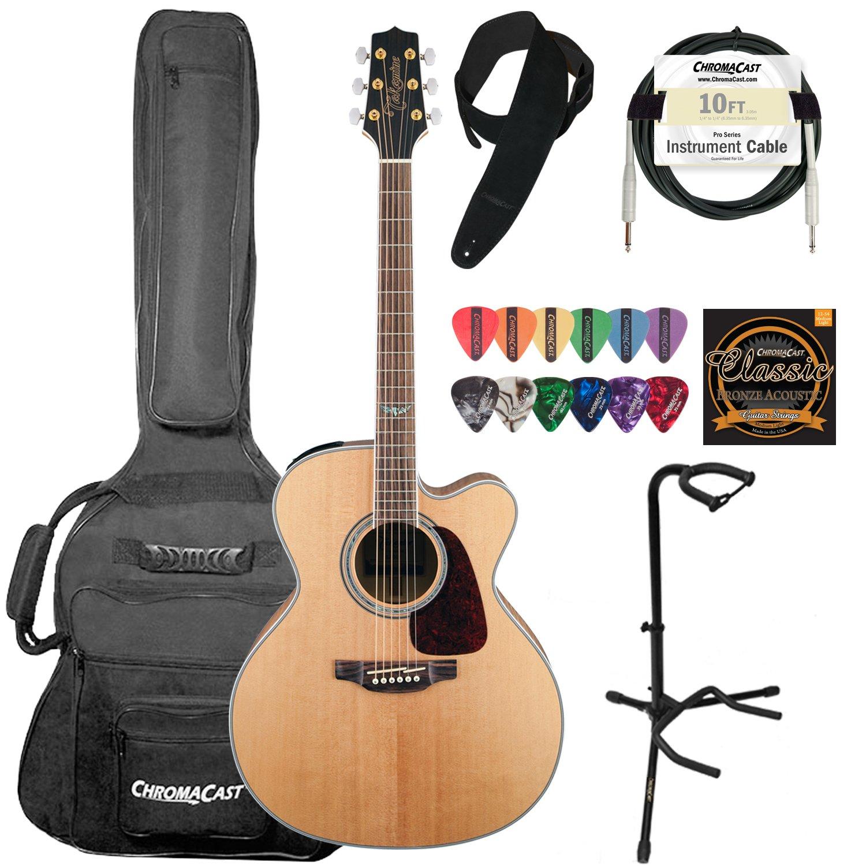 TAKAMINE gj72ce-nat Jumbo Cutaway 6 cuerdas acústica guitarra eléctrica Kit - incluye: ChromaCast Suede correa, 10 pies Pro Series Cable de guitarra, ...
