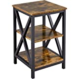YAHEETECH Industrial 3 Tier Sofa Side End Table with Shelves Storage, X Shape Display Shelf Rack Nightstand Table for…