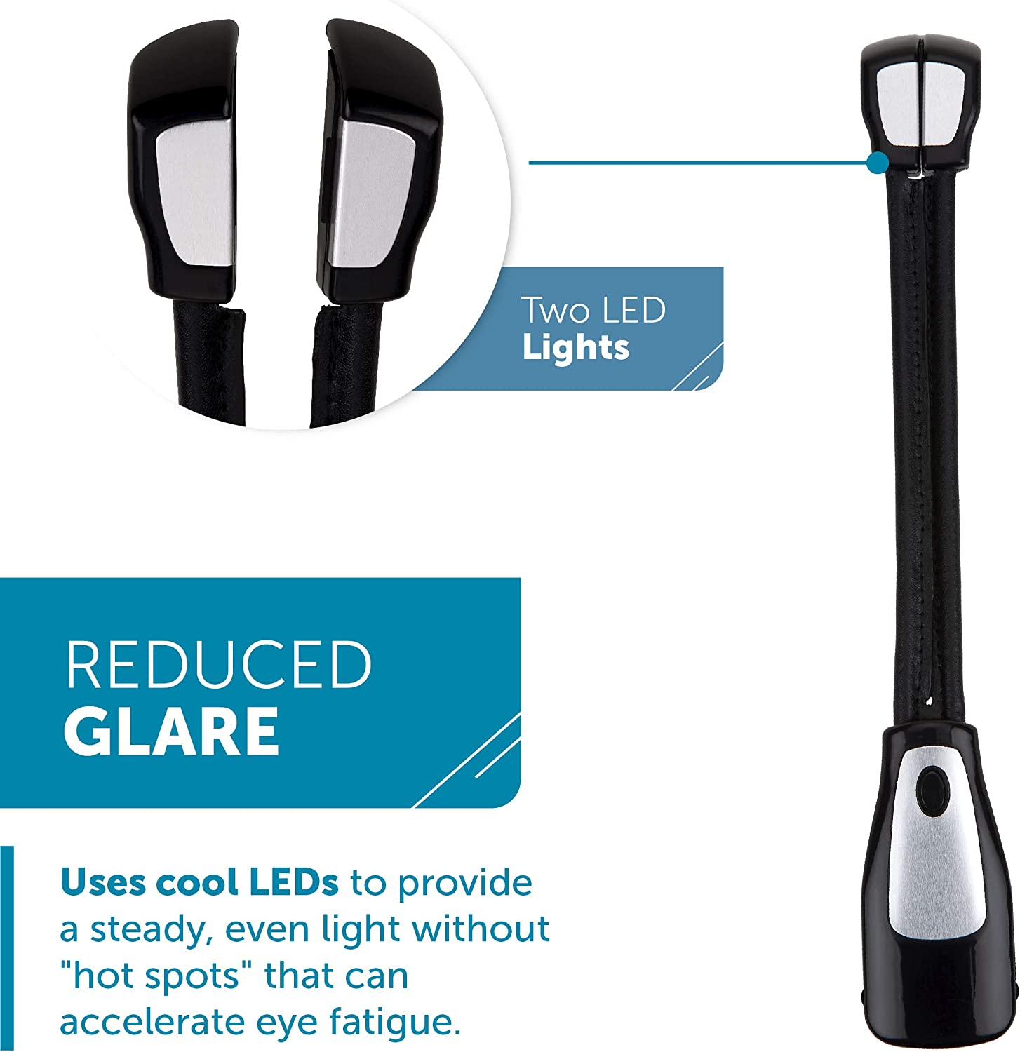 Black Portable Dual Head LED Reading Light with Clip for Books and eBooks Adults Lightweight Bookmark Light for Kids Reduced Glare WITHit Clip On Duo Reading Light